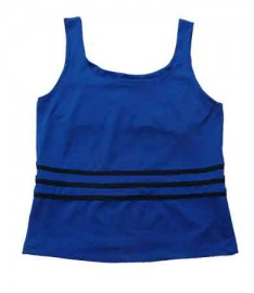 3 striped tennis tee Cobalt/Black, sizes M