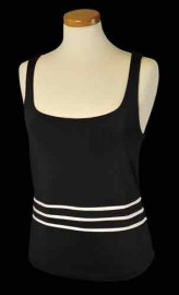 3 stripe tennis tank black white sizes M, L