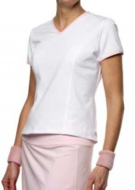 Short Sleeve Tennis Tee-White with Pale Pink trim