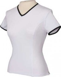 Short Sleeve Tee White with Black trim, size L