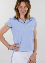 Cap Sleeve Polo Tennis Shirt - Bluebell