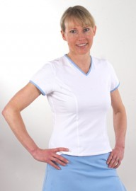 Short Sleeve Tennis Tee - White with Bluebell trim S